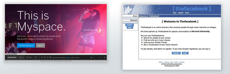 Myspace i thefacebook - Prikaz izgleda