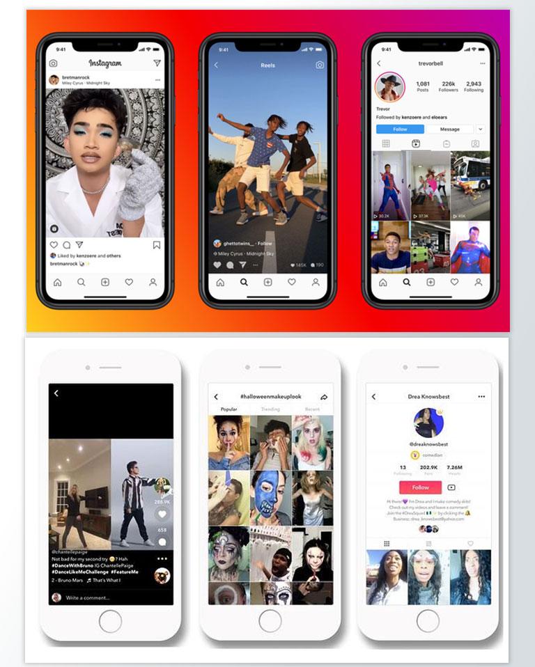 Instagram i TikTok - prikaz izgleda